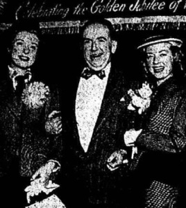 Hugh Donlon shown here escorting Hollywood starlets Audrey Totter on the left and Greer Garson on right during their 1952 visit to the Amsterdam.